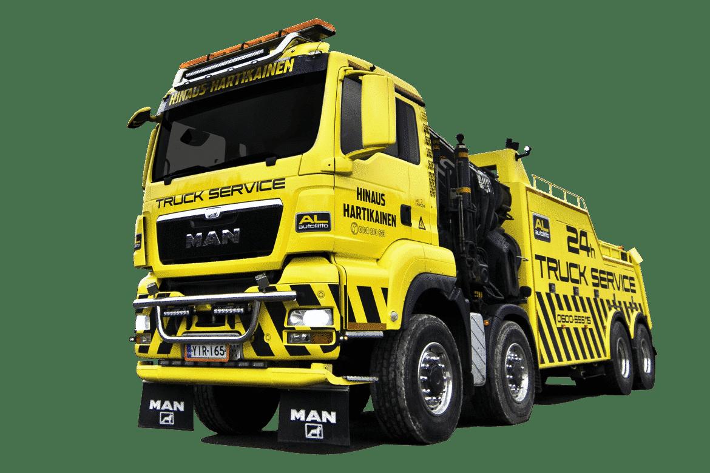 äytössämme on myös varta vasten raskaisiin hinaustöihin räätälöity MAN TGA 41.480 8×8, joka on varustukseltaan yksi monipuolisimmista liikenteessä olevista raskaan kaluston hinausajoneuvoista.